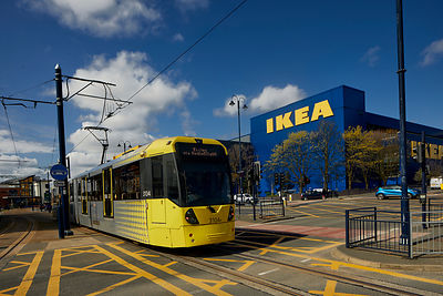 Tameside, IKEA store in  Ashton-under-Lyne with a Metrolink tram passing