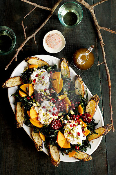 Kale Burrata Persimmon Salad with Balsamic Vinaigrette