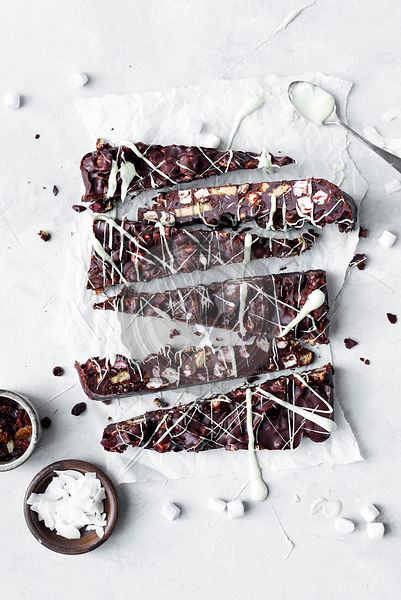 Dark Chocolate Rocky Road With Marshamallow And Biuscuit Drizzled In White Chocolate