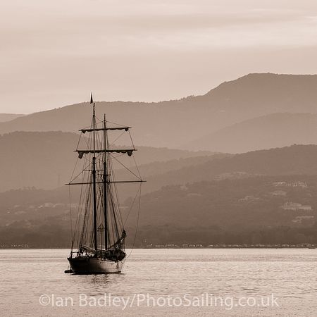 Square rigger moored
