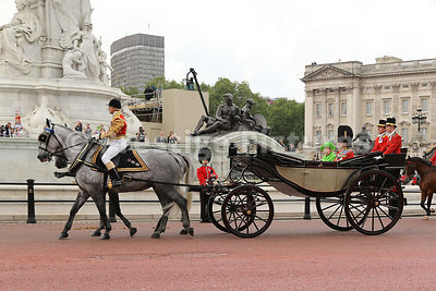 The Queen  riding to the Trooping the Colour Ceremony from Buckingham Palace