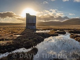 RSPB Flows viewing tower on the Dubh Lochan trail over  blanket bog at Forsinard RSPB Reserve, Flow Country, Northern Scotlan...