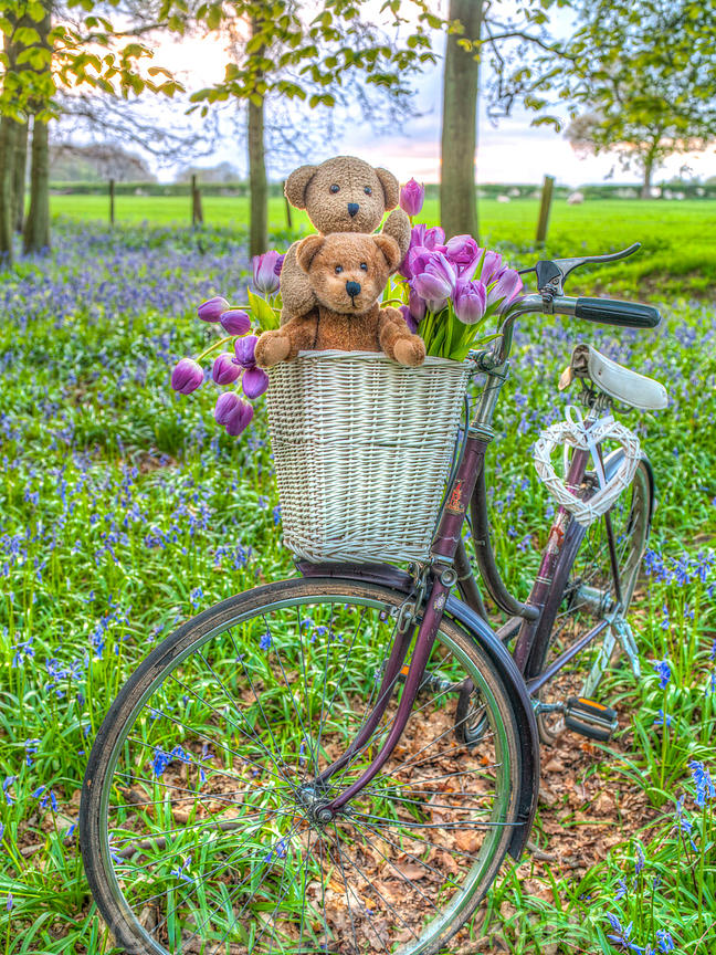 Bicycle in spring forest with bunch of flowers and teddy bears
