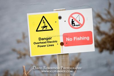 Image - Danger sign, warning of overhead electric power lines - No Fishing