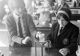 #83685,  Science class, Whitworth Comprehensive School, Whitworth, Lancashire.  1970.  Shot for the book, 'Family and School,...
