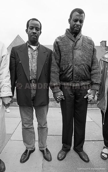 England, UK. 16.5.1993. London. Eltham. Richard Adams (left ) and Neville Lawrence the fathers of Rolan Adams and Stephen Law...
