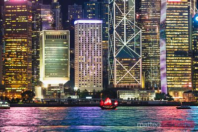 Hong Kong island illuminated at dusk