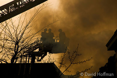 Firemen tackle blaze in Sikh Temple, Harley Grove, Mile End London. March 16, 2009