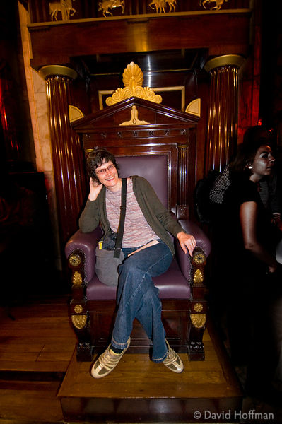 Open House Weekend London: Open House Weekend London: Annie in one of the mahogany thrones in the Greek Masonic Temple in the...