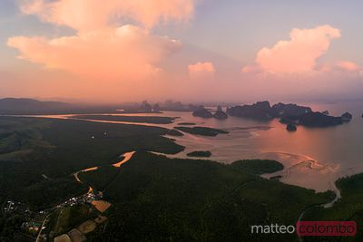 Aerial view of Phang Nga bay at sunset, Thailand