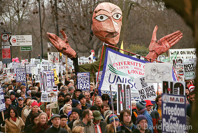 London peace march protesting against war in Iraq February 15, 2003. With more than 1,000,000 marching this was the biggest m...