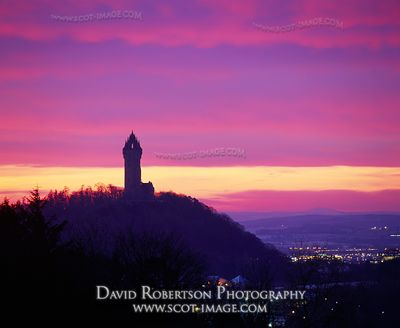 Image - Wallace Monument, Stirling, Scotland at Sunrise.