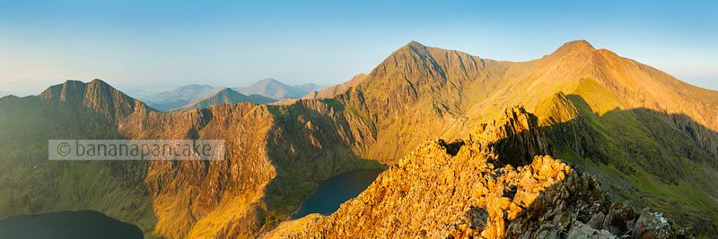 Panoramic view of the 'Snowdon Horsehoe' from Crib Goch - BP2656N