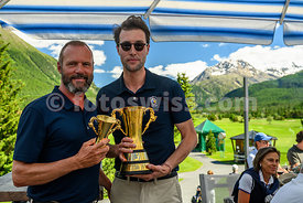 Samedan: 50. St. Moritz Gold Cup 04.07.2020 bis 05.07.2020.links( Dumeng Clavuot (Praesident EGC).Brutto - Gold Cup.1 Huth, M...