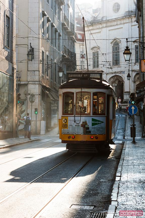 Traditional tramway in Lisbpn, Portugal