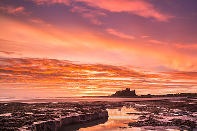 Spectacular sunrise at Bamburgh, Northumberland
