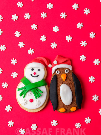Christmas penguin and snowman cookies