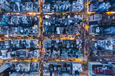Aerial view of city at night, Hong Kong