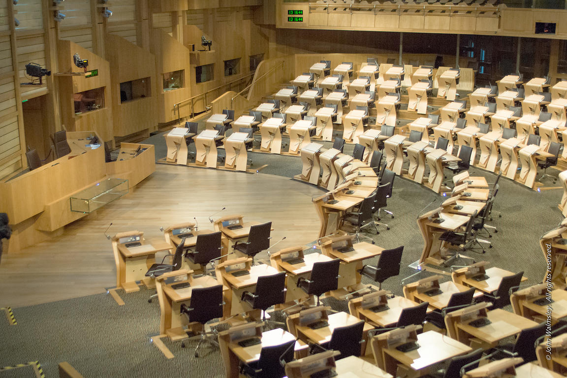 #027688,  Inside the debating chamber at the new Scottish Parliament building at Holyrood, Edinburgh.  Designed by Spanish ar...