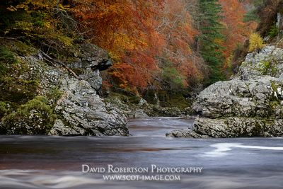 Prints & Stock Image - The River Findhorn, at Randolph's Leap, near Logie, Moray, Scotland.  In autumn