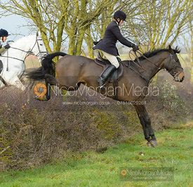 Vicky Westropp jumping a hedge at Sheepwash