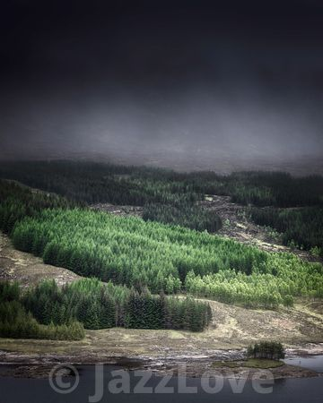Dark cloud and fog over hill with coniferous forest in Scottish Highlands