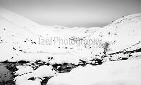 A black and white image of a winding stream at Hayeswater Gill in a winter snowy scene in the Lake District near Hartsop.