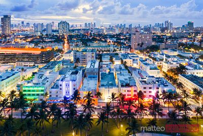 Aerial of Ocean drive and Miami downtown at dusk, Florida
