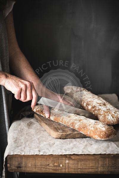 Ciabatta bread in a rustic kitchen