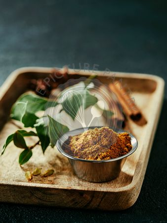 Garam masala and ingredients, copy space