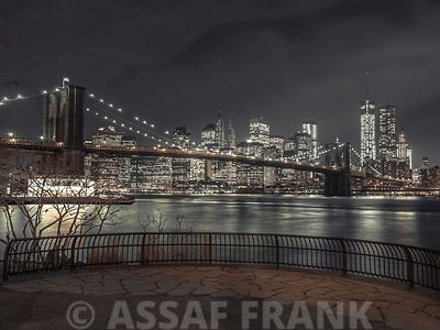 Brooklyn Bridge and lower Manhattan skyline at dusk, New York