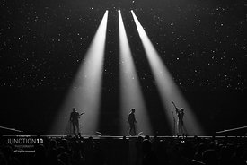 The Jonas Brothers in concert on the first night of the European leg of their Happiness Begins Tour at the Arena Birmingham, ...