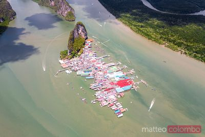 Aerial of Ko Panyi village built on stilts, Phang Nga bay, Thailand