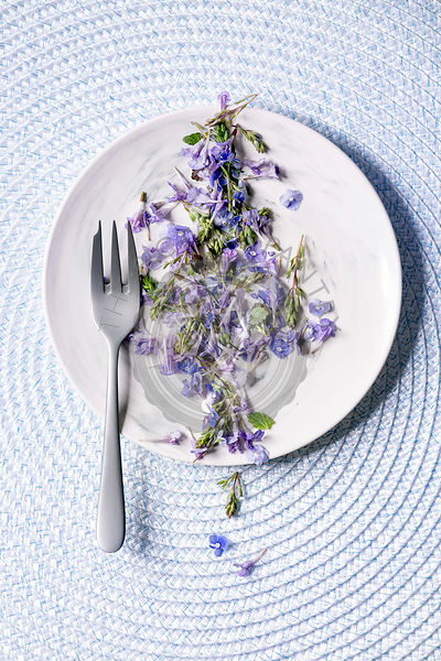 Edible flowers on plate