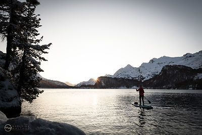 A chilly evening on my SUP. Lake Sils, Switzerland.