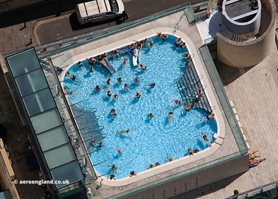 Thermae Bath Spa rooftop swimming pool in Bath  from the air