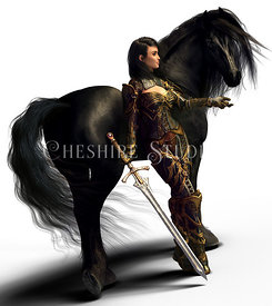 Fantasy Knight in Armor with Black Horse