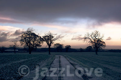 Sunrise on Staffordshire countryside on beautiful winter morning.