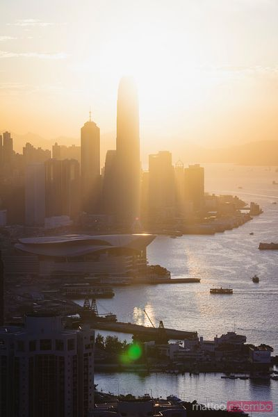Sunset over IFC and Hong Kong Island, China