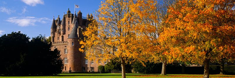 Image - Glamis Castle, Angus, Scotland, Autumn Panoramic
