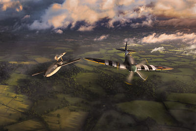 Spitfire tipping V1 flying bomb