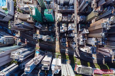 Overhead view of residential district, Hong Kong