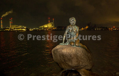 The Little Mermaid statue in Copenhagen at night