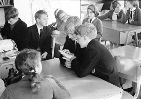 #83613,  Awaiting the morning register, Whitworth Comprehensive School, Whitworth, Lancashire.  1970.  Shot for the book, 'Fa...