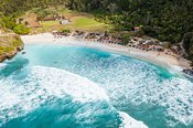Aerial view of Atuh beach, Nusa Penida, Bali, Indonesia