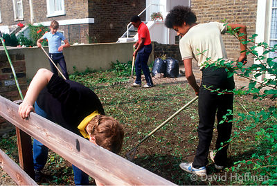 Youths clearing gardens as community service work... .
