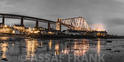 Panoramic view of Forth Road and Rail Bridges in North Queensferry, Edinburgh,  Scotland