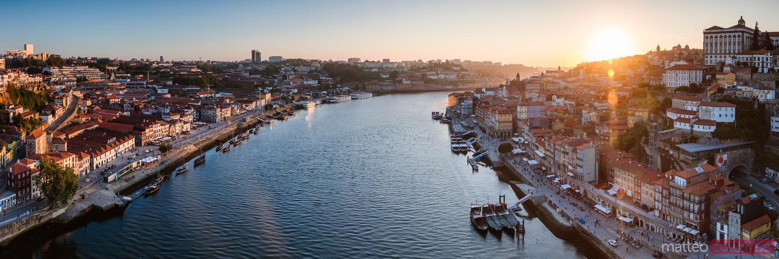 Panoramic of Douro river and city of Porto, Portugal