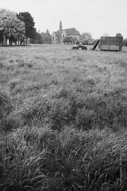 #120044, One of the Sisters harvesting the grass for silage on the farm at Ladywell Convent, Godalming, the Motherhouse of an...