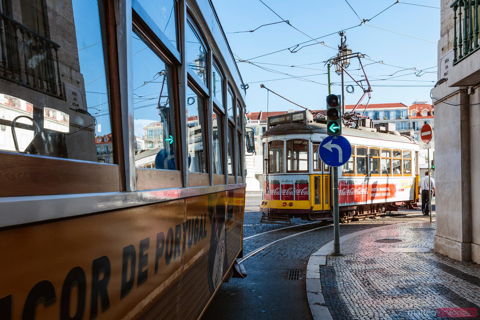 Trams lined up in the city center, Lisbon, Portugal